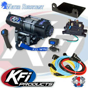 Kfi Products Winch A3000 3000 Lb Steel Cable Rope Atv Utv W/ Handlebar Switch