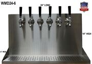Wall Mount Beer Dispenser 6 Faucets- Steel Draft Beer Tower Made In Usa- Wmd24-6