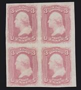 Us 65p5 3c Washington Plate Proof On Stamp Paper Blk Of 4 Vf-xf Pf Cert Scv2000