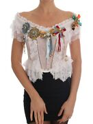 New 7200 Dolce And Gabbana Blouse Bustier Top Crystal Brooch Lace It36 / Us2 / Xs