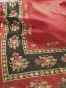 Antique French Tapestry Turkey Red Fabric, Wall Hanging Or Curtain Textile