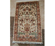Forest Peace Jungle Live Birds Deers Hand Knotted Rug Wool Silk Carpet 4 X 2'