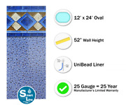 Smartline 12and039 X 24and039 X 52 Oval Unibead Mosaic Swimming Pool Liner - 25 Gauge