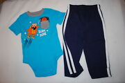 Baby Boys Turquoise T-shirt Pocket Monster Basketball Navy Blue Knit Pants 18 Mo