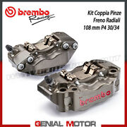 Kit Pair Radial Brake Calipers Brembo Racing Cnc P4 30/34 Sx Dx 108 Mm With Pad