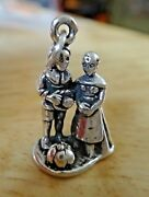 Sterling Silver 3d 20x13mm Thanksgiving Day Pilgrim Couple With Pumpkin Charm