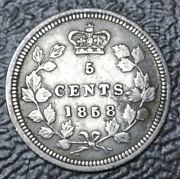 Old Canadian Coin 1858 Large Date - 5 Cents - .925 Silver- Victoria - High Grade
