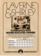 Laverne And Shirley 1978 Ad- Dominance With Higher Educated Viewers Paramount