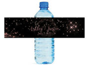 Rose Gold Dust Themed Water Bottle Labels Wedding Anniversary Engagement