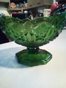 Vtg Eapg Green Glass Pedestal Footed Compote Candy Dish Bowl Daisy Pressed