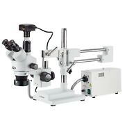 7x-45x Simul-focal Stereo Zoom Microscope On Boom Stand + Fiber Optic Ring Light