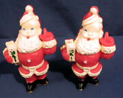2 Vintage Santa Claus Candy Containers Wax Figures By W+f Co. Buffalo Ny 7 High