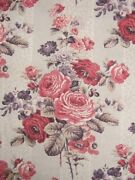 Long Valance For 4-poster Bed Antique French Pink And Purple Floral W/ Trim Fabric