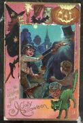 Mint Vintage Usa Picture Postcard Ppc Wish You A Jolly Halloween