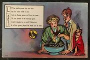 Mint Vintage Usa Picture Postcard Ppc Halloween Let The Candle Grease Drip