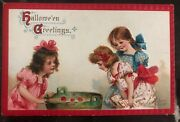Mint Vintage Usa Picture Postcard Ppc Cover Halloween Greetings Girls
