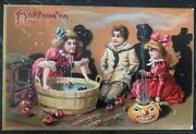 Mint Vintage Usa Picture Postcard Ppc Halloween Children's And Apples