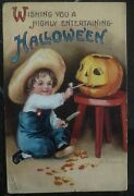Mint Vintage Usa Picture Postcard Ppc Wishing You Highly Entertaining Halloween