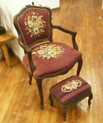 French Provincial Antique Louis Xv Walnut Arm Chair Stool Set Flower Needlepoint