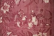 Antique French Toile De Normandy C 1820 Early 19th Century Purple Fabric