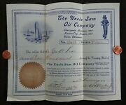 1912 Uncle Sam Oil Company 2000 Shares Stock Certificate Cherryvale Kansas City