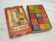Antique Halsam Hi-lo American Safety Blocks Letter W/box Building Wood Toy