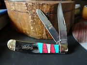 4 1/4 Closed Bear And Bull Pocket Knife Oxhorn Handle , Mop, Turquoise Red And Blue