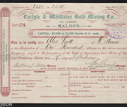 Share Scrip - Mining. 1899 Carlyle And Whittaker Gold Mining Co - Maldon Vic