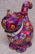 Coin Piggy Bank Ceramic Savings Animal House Cat New Multicolor Rose Red Base