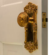 The Wells Passage Set In Polished Brass With Rice Beaded Door Knobs