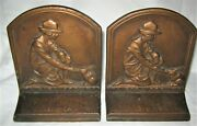 Antique American Cast Iron Girl Scout Rabbit Camp Camping Art Statue Bookends