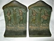Antique Bradley Hubbard See No Evil Usa Fairy Tale Gnome Cast Iron Bandh Bookends