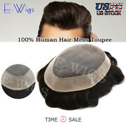 Us Sale 100human Hair Replacements Mens Toupee Fine Mono Poly Around Hairpieces