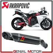 Pair Of Carbon Exhaust Approved Mufflers Akrapovic For Yamaha Yzf-r1 2009 2014