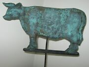 Vintage Interesting Wooden Bull Cow Weathervane W/copper Patina Look/old Paint