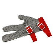 Universal 3-finger Chain Mail Protective Glove - Reversible W/ Textile Strap