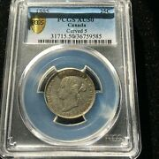 1885 Curved Top 5pcgs Graded Canadian 25 Cent Au-50