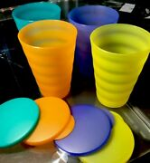 Set Of 4 New Vintage Tupperware Impressions 16 Oz Tumblers With Seals 4 Colors