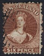 New Zealand 1864 Sg108 6d Red-brown Fine Used, Crisp Cancel. Cat.£60.00