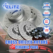 F+r Cross Drilled Rotors And Ceramic Pads For 2014 Infiniti Qx70 5.0l Engine