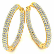 Natural 3carat Round Cut Diamond Ladies Inside Out Hoops Earrings 14k Gold