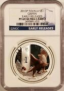2013-p Tuvalu 1 Griffin 1oz .999 Fine Silver Ngc Pf69 Ultra Cameo Early Release