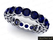 5.7ct Round Sapphire Shared Prong Gallery Eternity Band Ring 14k White Gold Aaaa