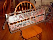 Vintage Nyc Ny Subway Sign Primitive Caution Watch Warning Tracks Antique Metal