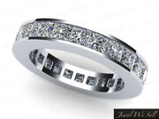 3.40ct Princess Diamond Classic Channel Eternity Band Ring 18k White Gold H Si2