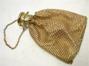 Vintage Whiting Anddavis Gold Metal Mesh Bag Purse Collapsible Top Art Deco Clutch