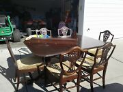 Duncan Phyfe Mahogany Dining Table With 3 Leaves And 6 Chairs-total Length 104 In.