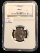 1954-s Jefferson Nickel Ngc Ms 66 Partial Steps Bright White San Francisco 013