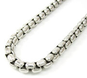 14k White Gold Rounded Italy Box Mens Ladies Chain Necklace 5mm 20-30