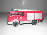 Wiking 616 Mercedes Lf16 Fire Truck - Red And White -- Imported 1985 H.o. 1/87